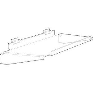"Acrylic Slatwall Flat Braced Shelves with Front Lip, 16"" x 10"""
