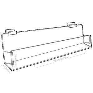 "Acrylic J Racks Shelves for Slatwall with closed ends, 24"""