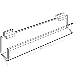 "Acrylic J Racks Shelves for Slatwall with open ends, 36"""