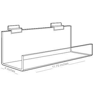 "Acrylic Shelves for Slatwall, Slatgrid with open ends, 11"" x 4"""
