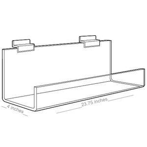 "Acrylic Shelves for Slatwall, Slatgrid with open ends, 24"" x 4"""