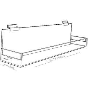 "Acrylic Shelves for Slatwall, Slatgrid with closed ends, 24"" x 4"""