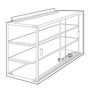 2 Shelves Acrylic Locking Showcases for Slatwall