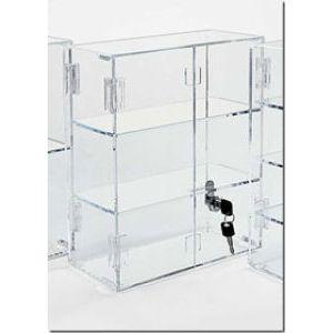 "Hinged Door Acrylic Countertop Showcases, 16.25"" x 16.5"" x 7"""