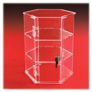 2 Remote Shelves Hexagon Locking, Acrylic Countertop Showcases
