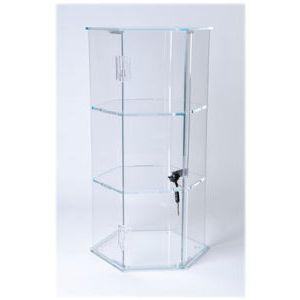2 Shelves Hexagon Locking, Acrylic Countertop Showcases