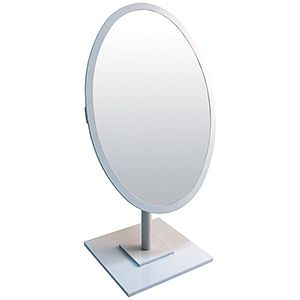 Jewelry Countertop Adjustable Oval Mirror, White