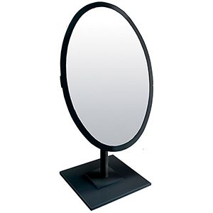 Jewelry Countertop Adjustable Oval Mirror, Black