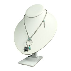 White, Neck Form Necklace Display with Adjustable Stand