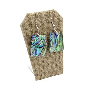 """Burlap Earring/Necklace Display, 2.5"""" x 1.75"""" x 3.25""""H"""