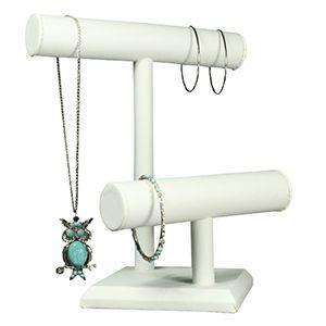 White, Round 2 Level T Bar Necklace/Bracelet Stand
