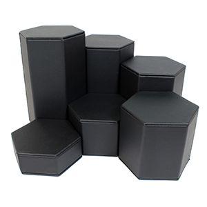 Black Faux Leather, Hexagon Riser Set
