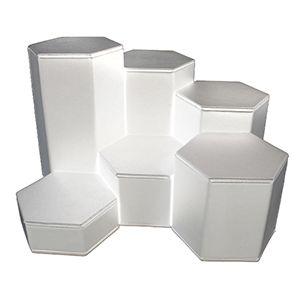 White Faux Leather, Hexagon Riser Set