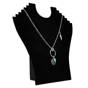 Black, Flat Multi-Necklace Display with Easel