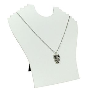 White, Flat Multi-Necklace Display with Easel