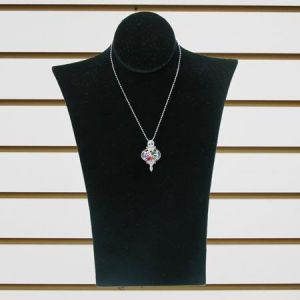 """Jewelry Necklace Display, White Faux, 8"""" x 12"""""""