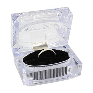 """Clear Acrylic Double Ring Box, 2.5"""" x 1.75"""" x 2""""H"""