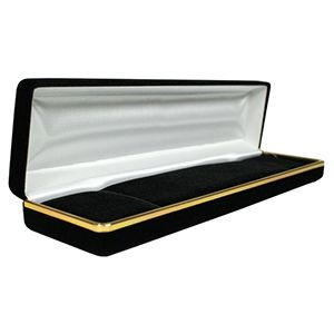 Black Velvet with Gold Trim Hinged Jewelry Boxes, for Bracelet/ Watch