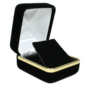 Black Velvet with Gold Trim Hinged Jewelry Boxes, for Earring with Flap