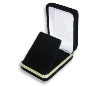 Black Velvet with Gold Trim Hinged Jewelry Boxes, for Pendant/ Earring with Flap