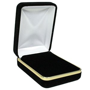 Black Velvet with Gold Trim Hinged Jewelry Boxes, for Pendant/ Earring