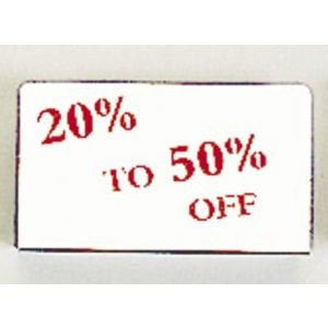 """Red on Silver, """"20-50% OFF"""" Showcase Signs"""