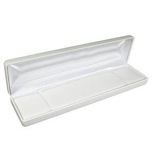 White Faux Leather Hinged Jewelry Boxes, for Bracelet/ Watch