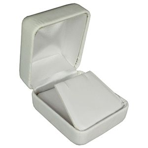 White Faux Leather Hinged Jewelry Boxes, for Earring with Flap