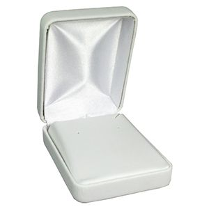 White Faux Leather Hinged Jewelry Boxes, for Pendant/ Earring