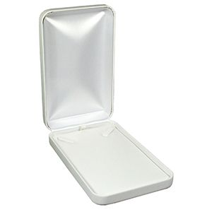 White Faux Leather Hinged Jewelry Boxes, for Necklace
