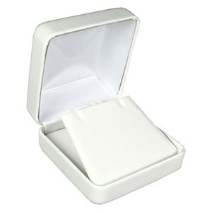 White Faux Leather Hinged Jewelry Boxes, for Pendant/ Earring with Flap