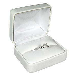 White Faux Leather Hinged Jewelry Boxes, for Ring