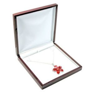 Rosewood Veneer Hinged Jewelry Boxes, for Necklace