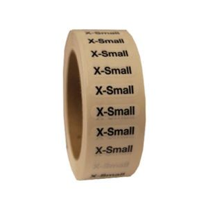"""""""Extra Small """"XS"""" Clear Rectangle Size Labels"""