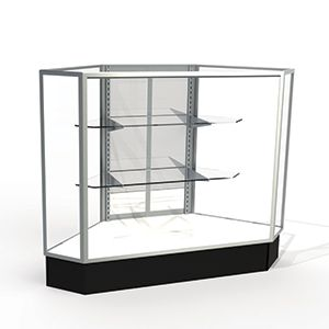 Mirror Doors, Rear Access Corner Display Cases with lights, for Extra Vision Showcase
