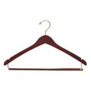 """17"""" Natural Finish, Contoured Wood Suit Hangers with lock bar"""