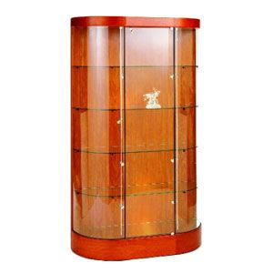 """Cherry, Curved Wall 45"""" Glass Display Case No Storage"""