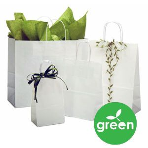 """Recycled White Kraft Paper Shopping Bags, 6"""" x 3"""" x 13"""""""