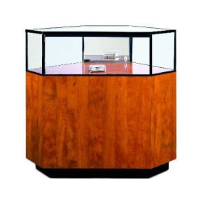 "44.5"", Cherry/Gold Frame, Full Sized Corner Jewelry Showcase"