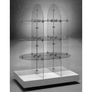 """14"""" Square, Glass Quarter Round Extended Tower Display, Chrome"""