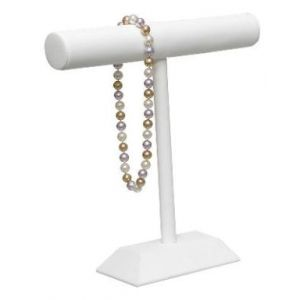 White, Round T Bar Necklace Display