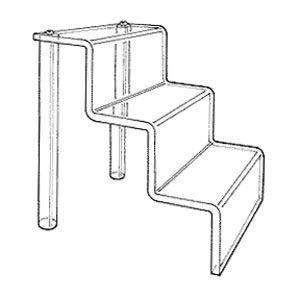 "Acrylic Clear Three Step Stairs, 9.5"" x 12"" x 9.5"""