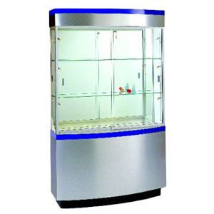 "Cherry, Curved Wall 48"" Wide Display Case with Storage"