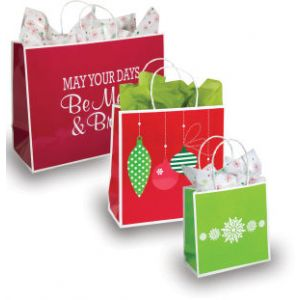 """Sophie Holiday Collection, Red Holiday Greetings Shopper, 7"""" x 3"""" x 7"""""""