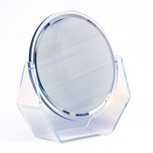 "Acrylic Beveled Glass Counter Mirror, 10-1/8"" x 9"" x 3"""