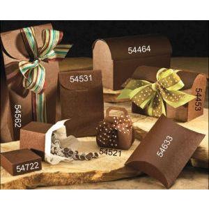 """Pillow Pack, Chocolate Linen Gift Box, 4"""" x 4"""" x 1-3/8"""""""