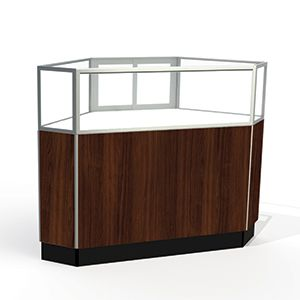 Laminate Doors, Rear Access Corner Display Cases with lights, for Jewelry Showcase