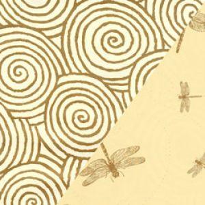 Dots & Stripes Gift Wrap, Dragonflies & Swirls, 2 Sided, Kraft
