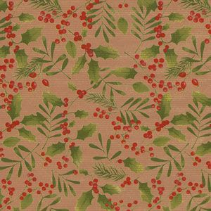 Winter Greens. Berries, Lenox Lined,Kraft, Mistletoe Gift Wrap