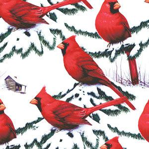 Cardinals, Animals, Traditional, Holiday Animal Gift Wrap